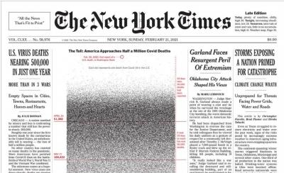 Το συγκλονιστικό πρωτοσέλιδο των New York Times για τα 500.000 θύματα της πανδημίας - Κάθε κουκίδα και μια ζωή χαμένη
