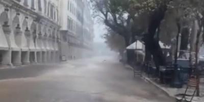 Προβλήματα από την κακοκαιρία στην Κέρκυρα - Ξεριζώθηκαν δέντρα στο κέντρο της πόλης
