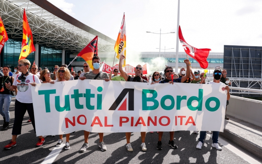 Ιταλία: Επεισόδια ανάμεσα στην αστυνομία και τους εργαζομένους της Alitalia