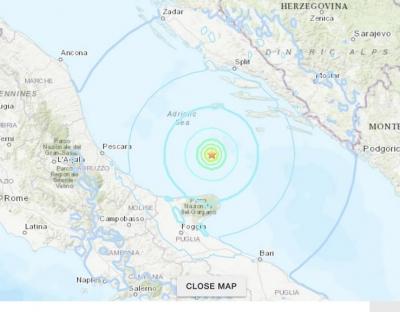Σεισμός 5,6 Ρίχτερ στην Αδριατική έγινε αισθητός σε Ιταλία – Κροατία