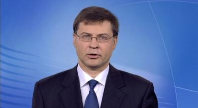 Dombrovskis σε Παπαδημούλη:  Η Ευρωπαϊκή Επιτροπή ενθαρρύνει την επίτευξη συμφωνίας για την Τραπεζική Ένωση