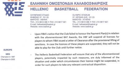 Θηλιά FIBA στον υπότροπο Άρη αν δεν αποπληρώσει τα χρέη
