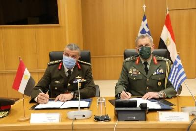 Υπεγράφη το πρόγραμμα διμερούς στρατιωτικής συνεργασίας Ελλάδας - Αιγύπτου για το 2021