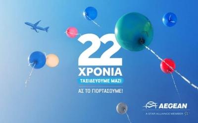 Η Aegean γιορτάζει σήμερα τα 22 της χρόνια και μοιράζει δώρα στους επιβάτες