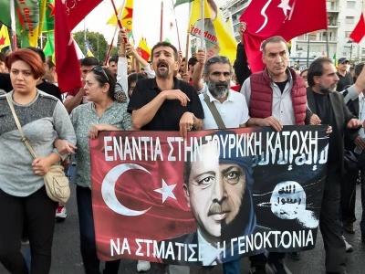Πορεία διαμαρτυρίας Κούρδων σε Αθήνα, Θεσσαλονίκη και Παρίσι - Έκαψαν τουρκικές σημαίες