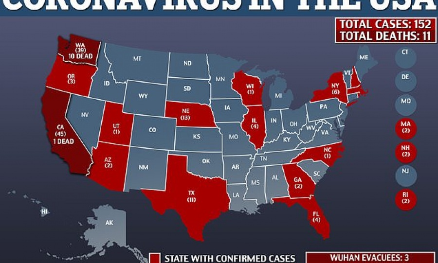 Σε κατάσταση έκτακτης ανάγκης η Καλιφόρνια λόγω κορωνοϊού – Στους 11 οι νεκροί στις ΗΠΑ