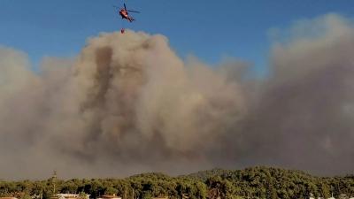 Φωτιά στα Τέμπη - Ισχυρές δυνάμεις στο σημείο