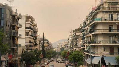 Οι καπνοί στην Αθήνα από την πυρκαγιά στο Σχίνο Κορινθίας