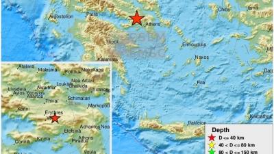 Σεισμός 3,7 βαθμών της κλίμακας Ρίχτερ 33 χιλιόμετρα ΒΔ της Αθήνας και δεύτερος 2,2 βαθμών κοντά στην Θήβα