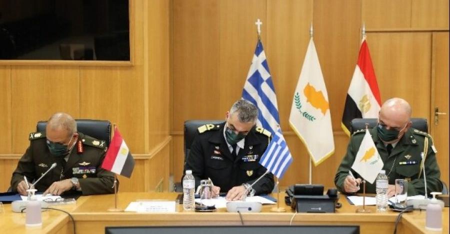 Υπεγράφη το πρόγραμμα τριμερούς στρατιωτικής συνεργασίας Ελλάδας - Κύπρου - Αιγύπτου