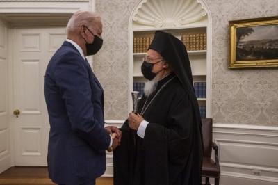 Στο Λευκό Οίκο ο Βαρθολομαίος – Συνάντηση με Biden, Blinken – Στο επίκεντρο το άνοιγμα της Χάλκης