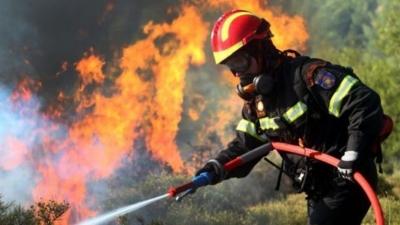 Φωτιά στο Μαρκόπουλο Αττικής - Κινητοποίηση επίγειων και εναέριων δυνάμεων πυροσβεστικής
