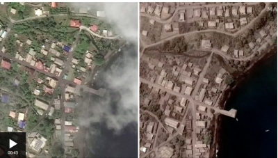 Πριν και μετά: Η τέφρα από το ηφαίστειο μετέτρεψε σε γκρι χρώμα ένα ολόκληρο νησί της Καραϊβικής