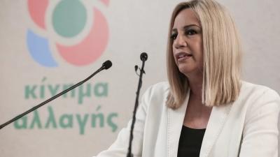 Γεννηματά για γυναικοκτονία στη Λάρισα - Ώρα ο κ. Μητσοτάκης να αναλάβει τις ευθύνες του για δράση