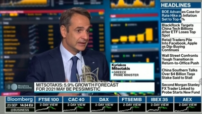 Μητσοτάκης σε Bloomberg: Η πρόβλεψη για ανάπτυξη 5,9% το 2021 είναι... απαισιόδοξη - Το μήνυμα στην Τουρκία