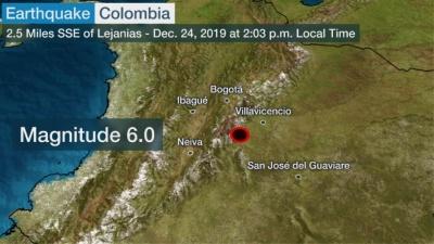 Δυο ισχυρές σεισμικές δονήσεις μεγέθους 6 και 5,8 βαθμών της κλίμακας Ρίχτερ, ταρακούνησαν την Κολομβία