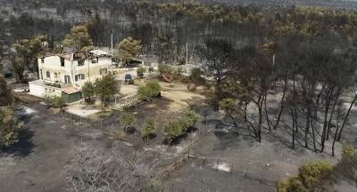 Φωτιά στη Βαρυμπόμπη - Βίντεο από drone δείχνει την επόμενη μέρα της καταστροφής