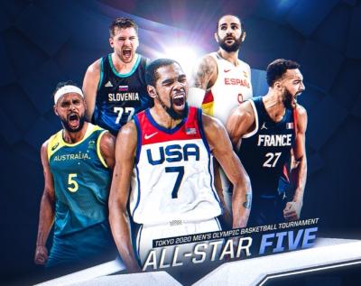 Μπάσκετ: Η «χρυσή» πεντάδα των Ολυμπιακών Αγώνων