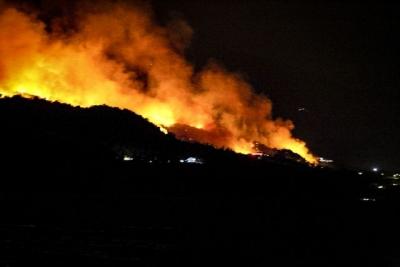 Σε ύφεση η μεγάλη πυρκαγιά σε δασική έκταση στη Σάμο