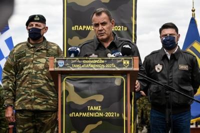 Παναγιωτόπουλος (ΥΕΘΑ): Εξαιρετική επίδειξη της ισχύος πυρός η άσκηση «Παρμενίων»