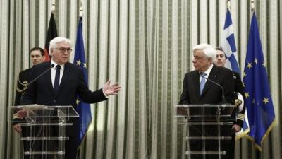 Διήμερη επίσκεψη του Γερμανού προέδρου - Παυλόπουλος: Άριστες οι διμερείς σχέσεις - Steinmeier: Χαίρομαι για την οικονομική πρόοδο της Ελλάδας