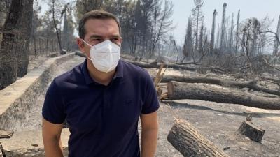 Τσίπρας από τις πληγείσες περιοχές της Εύβοιας: Μην προκαλούν με δηλώσεις αυτοθαυμασμού πάνω στα ερείπια