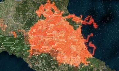 Οι εφιαλτικές εικόνες των πύρινων μετωπών από τον δορυφόρο – Οι πυρκαγιές σε Αττική, Εύβοια και Ηλεία