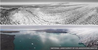 Εικόνες πριν και μετά: Οι παγετώνες στην Ισλανδία εξαφανίζονται με την πάροδο του χρόνου