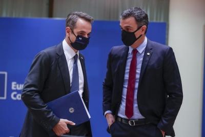 Μητσοτάκης - Sánchez: Σημαντικό το πράσινο πιστοποιητικό για να διασφαλιστεί η ελεύθερη διακίνηση των πολιτών