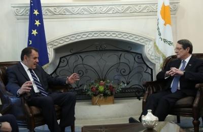 Συνάντηση του υπ.Άμυνας Ν. Παναγιωτόπουλου με τον πρόεδρο της Κύπρου, Ν. Αναστασιάδη
