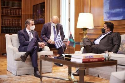Μητσοτάκης: Να αποχωρήσουν τα ξένα στρατεύματα από τη Λιβύη - Συνομιλίες για οριοθέτηση θαλάσσιων ζωνών