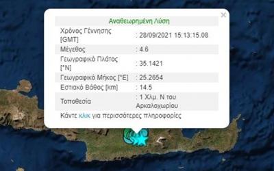 Νέος σεισμός 4,6 Ρίχτερ στην Κρήτη