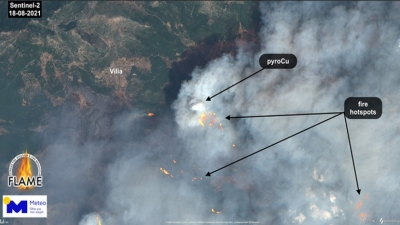 Εθνικό Αστεροσκοπείο Αθηνών: Η «έκρηξη» της δασικής πυρκαγιάς στα Βίλια Αττικής