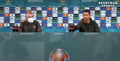 EURO 2020, Εκνευρισμός του Κριστιάνο Ρονάλντο με την Coca Cola: «Πίνετε νερό» (video)