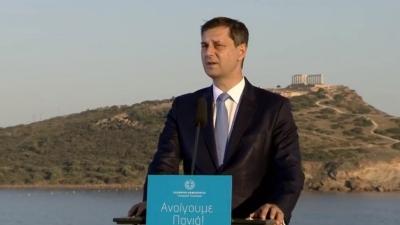 Θεοχάρης (υπ. Τουρισμού):  Eπαναφέρουμε την Ελλάδα ως έναν τόπο ταυτόσημο με τη φιλοξενία με πέντε ζώνες άμυνας